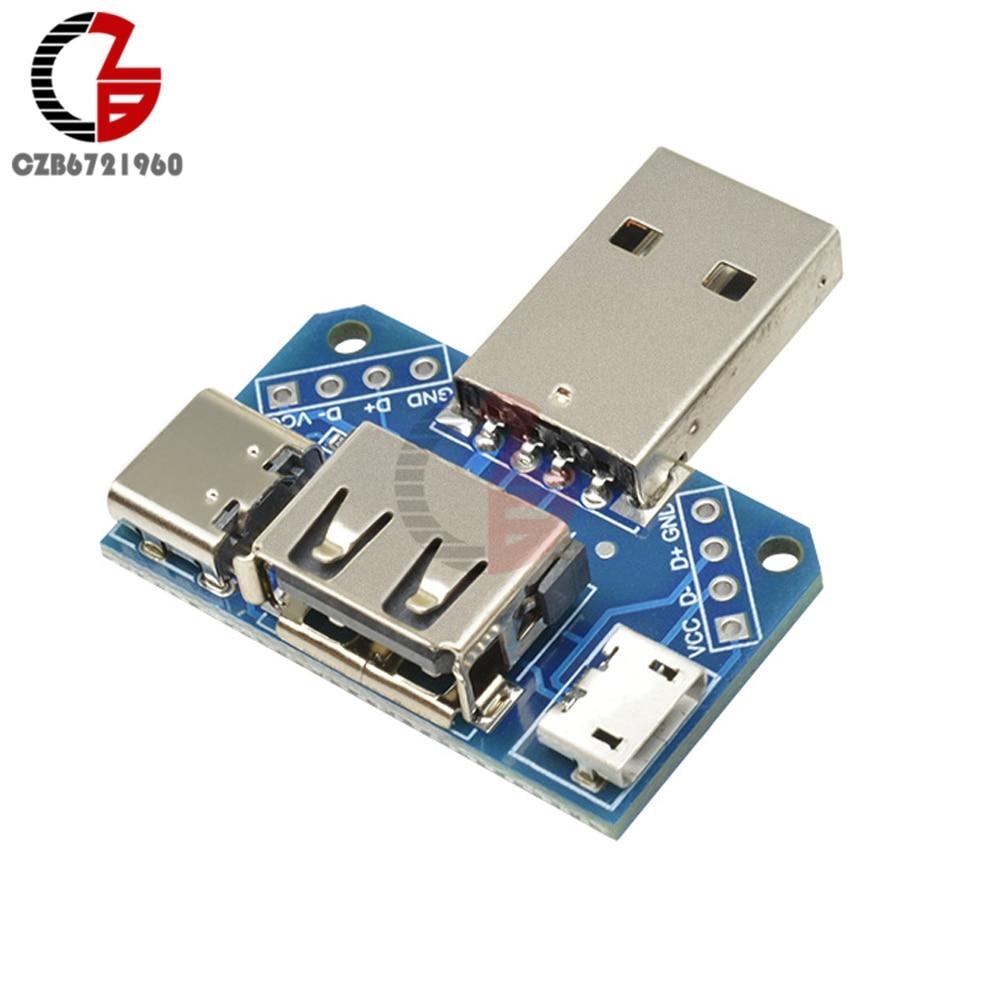 5 v usb cabeça switchboard usb macho para fêmea para tipo-c para micro usb para 2.54mm 4 p usb conversor adaptador conector módulo XY-USB4
