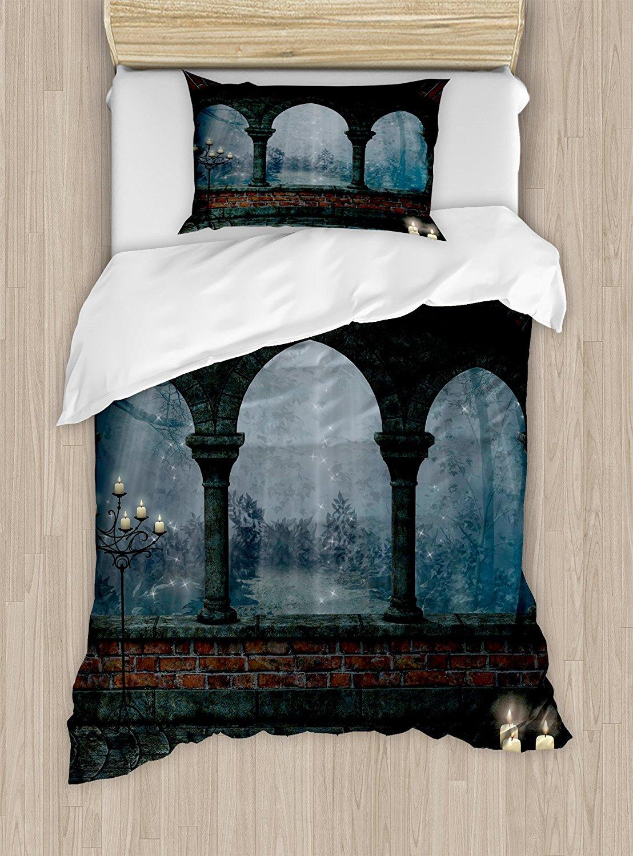 Juego de edredón gótico de tamaño doble castillo Medieval por la noche con arco viejo y velas de mediana edad imagen brumosa juego de ropa de cama de 4 piezas