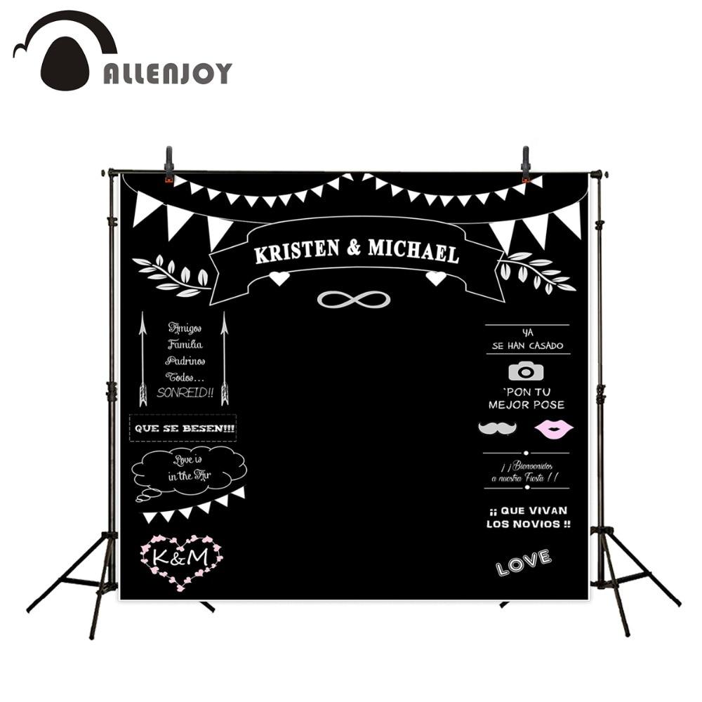 Allenjoy Photocall wedding Theme Backdrops Blackboard for Photo Studio chalk Background Photography customized size Name Date