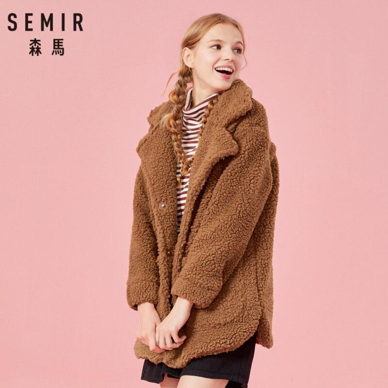 Chaqueta Sherpa SEMIR de gran tamaño con cierre de botón a presión, chaqueta Sherpa larga para mujer con bolsillo frontal de satén forrado estilo acogedor