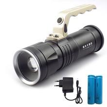 Recherche lampe de poche Zoomable lumières grande taille Rechargeable Flash lumière torche lanterne pour pêche Camp chasse 18650 batterie AC chargeur
