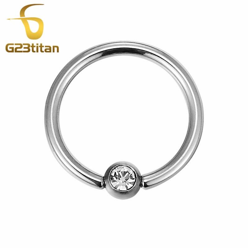 G23titan 100% G23 Titanium BCRs with 3mm crystal ball ring for Ear Tragus Eyebrow Lip Navel Nipple Septum Piercing