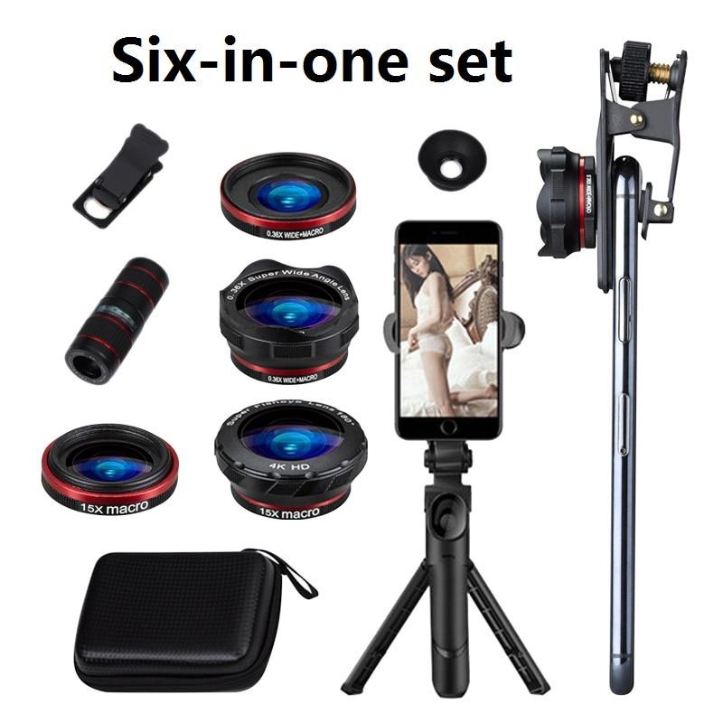 Juego de lentes de teléfono 6 en 1 12X gran angular Macro lente de teléfono HD sin distorsión lente de cámara de teléfono trípode en vivo juego de telescopios