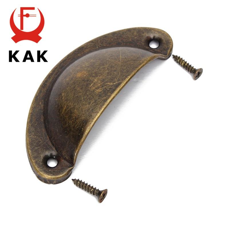 KAK 20PCS Retro Metal Kitchen Drawer Cabinet Door Handle And Furniture Knobs Hardware Cupboard Antique Brass Shell Pull Handles
