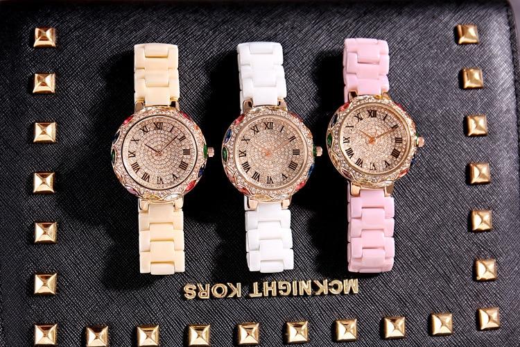 Fashion Pink Ceramic Women Colorful Bracelets Watches Luxury Lady Rhinestone Quartz Wristwatch Full Diamond Crystal Dress Watch enlarge