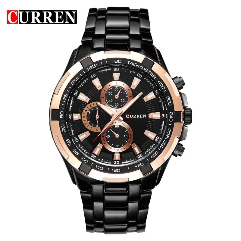 Relojes deportivos CURREN para Hombre, relojes de cuarzo de marca de lujo para Hombre, relojes negros de acero inoxidable para Hombre, Reloj militar a prueba de agua, Reloj Hombre