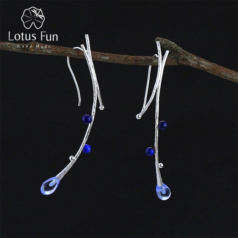 Lotus Fun Real 925 Sterling Silver Earrings Creative Handmade Fine Jewelry Ethnic Tree Branch Dangle Earrings for Women Brincos
