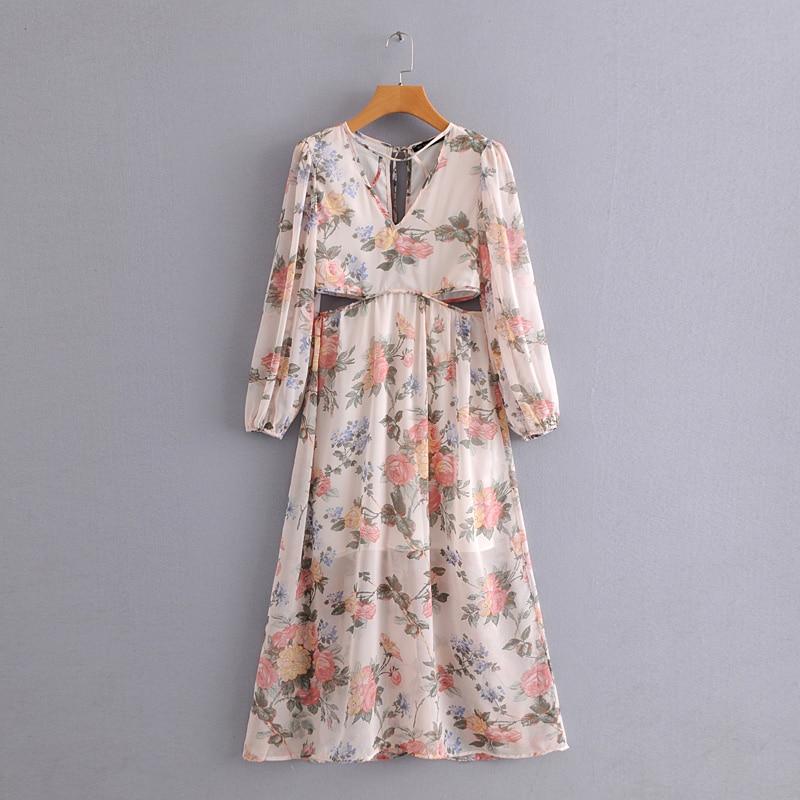 Новинка весны 2019 женское богемное длинное платье с v образным вырезом и цветочным