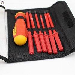 Conjunto isolado chave de fenda eletricista dedicado CR-V phillips 1000 v alta tensão resistente ferramenta mão 7 pçs