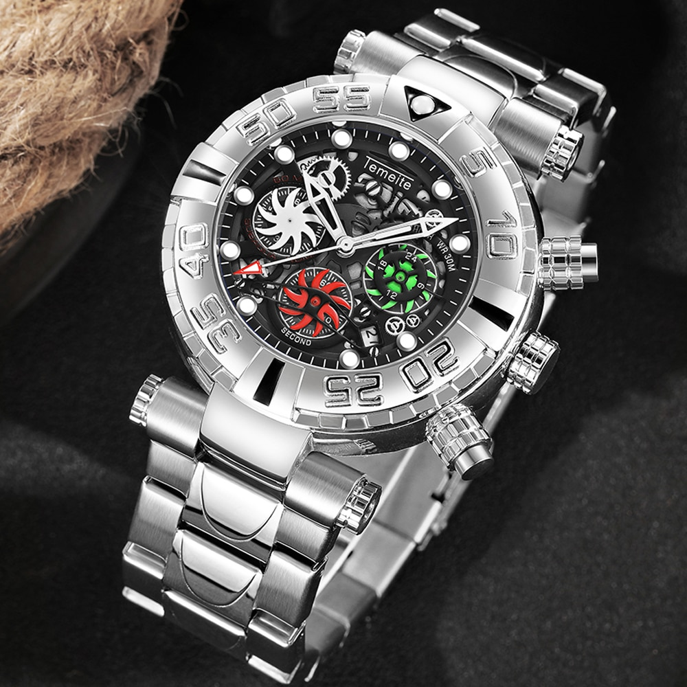 Relogio Original Sport Business Mens Quartz Watches Men Big Face Waterproof Wristwatches Temeite Male Clock For Christmas Gift