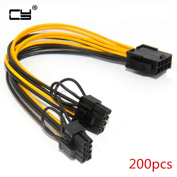 200 stücke 8Pin zu GPU Graphics Grafikkarte Doppel PCI-E PCIe 8Pin(6Pin + 2Pin) netzteil 18AWG Draht Splitter Kabel für bergbau