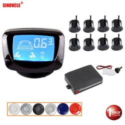 Kit de sensor de estacionamento automotivo sinovcle, 8 sensores, 22mm, display lcd, sistema de monitoramento reverso de carro, radar