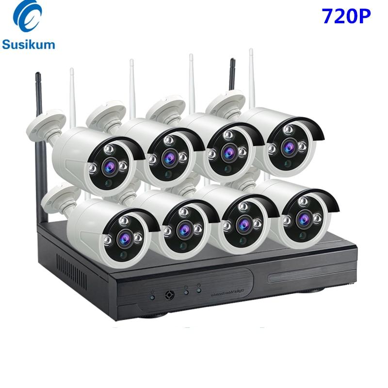 2MP 720P System CCTV 8ch HD bezprzewodowy zestaw monitoringu NVR odkryty IR noktowizor IP kamera Wifi System nadzoru bezpieczeństwa