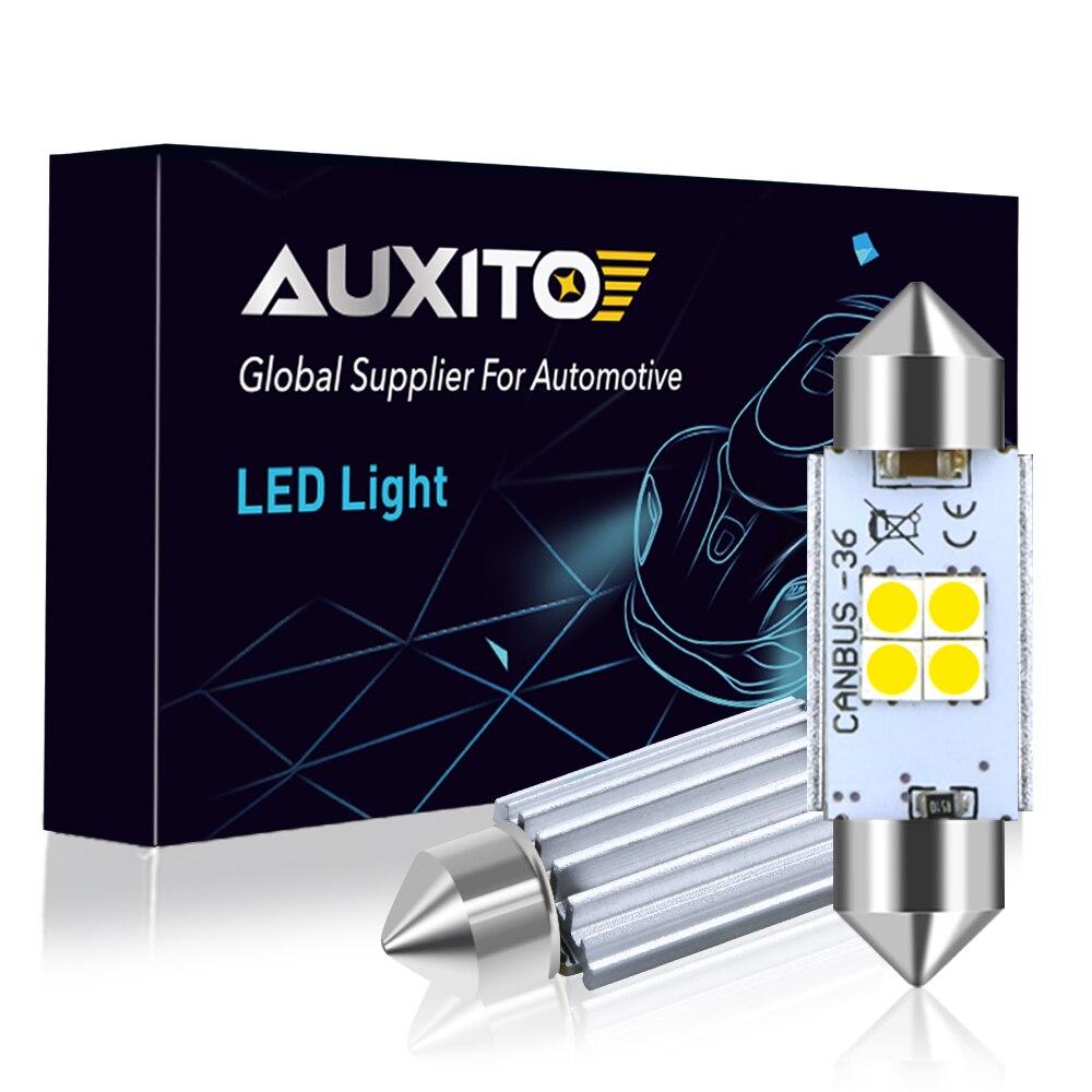 AUXITO 1000LM, luz Interior del coche, 31mm, 36mm, 41mm, bombilla LED C10W, C5W, luz de matrícula para puerta de lectura, espejo de tocador, luz de matrícula