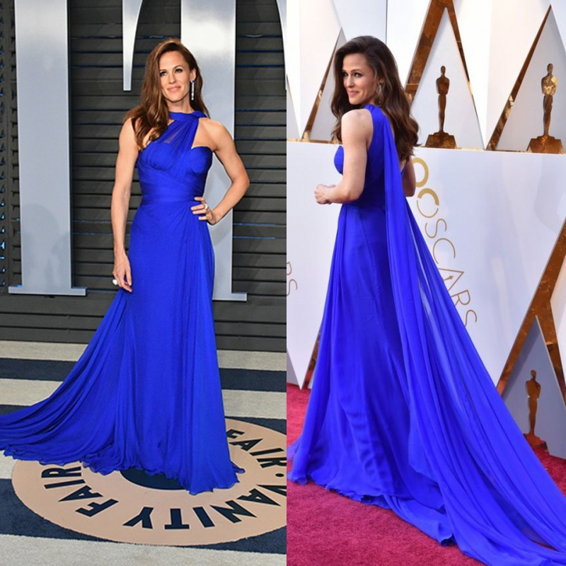 Jennifer Gardner celebridades alfombra roja Drsses 2019 Oscar sin respaldo Chiffon sirena vestido de noche Formal para las mujeres