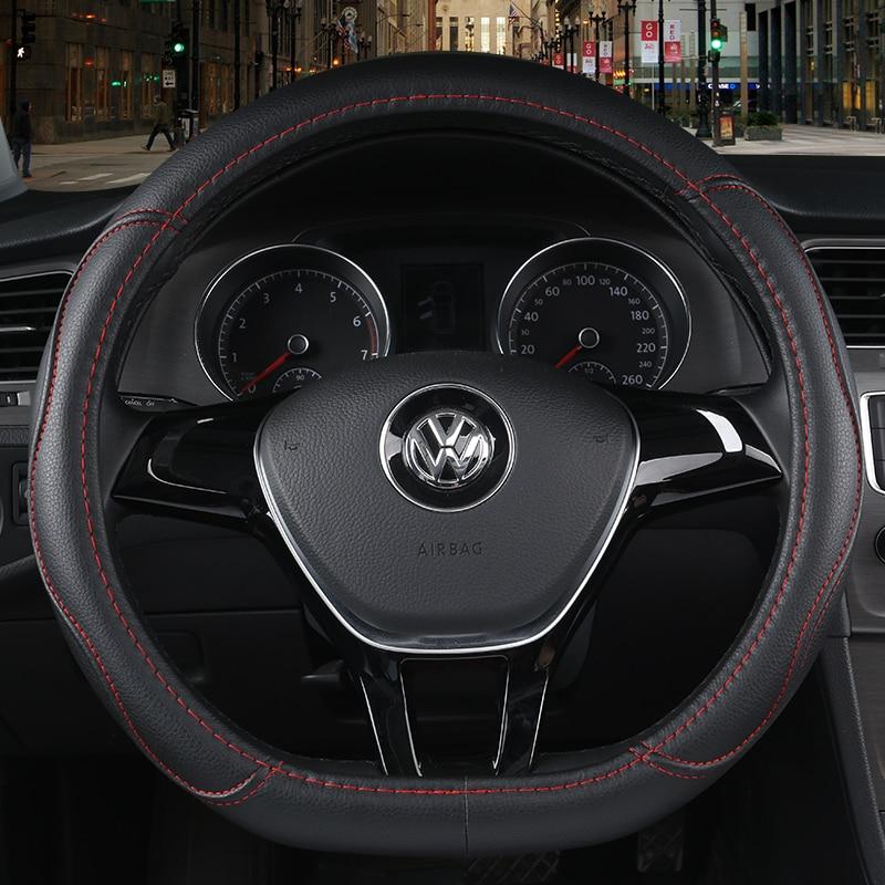 """La serie D de Micro fibra de coche de cuero cubre volante 38CM/15 """"dirección cubos de rueda de coche de estilo para VW GOLF 7 2015 POLO JATTA"""