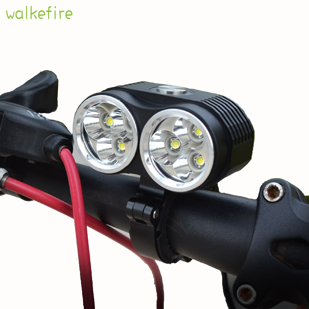 Walkefire Fahrradlampe Licht 10000LM 6 x XM-L T6 LED fahrrad Licht 3 Modi 3 in 1 Dual Head Wasserdichte Fahrrad lampe