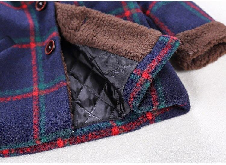 Шерстяные пальто для мальчиков, осенние и зимние куртки для маленьких мальчиков, длинная стеганая теплая детская одежда в клетку, пальто, верхняя одежда-3
