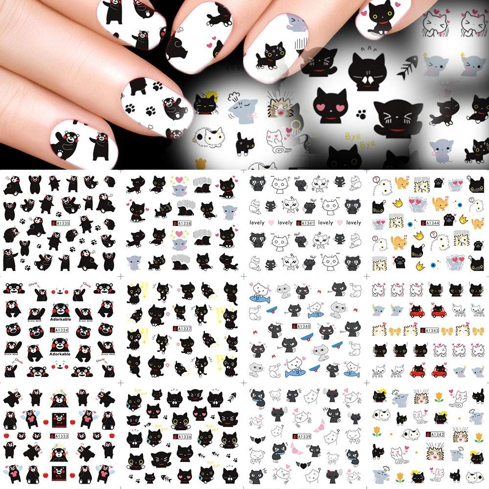Dulce tendencia 12 diseños lindo gato negro de uñas de arte pegatinas agua transferencia calcomanías para puntas de uñas patrón de dibujos animados de uñas decoración LAA1333-1344