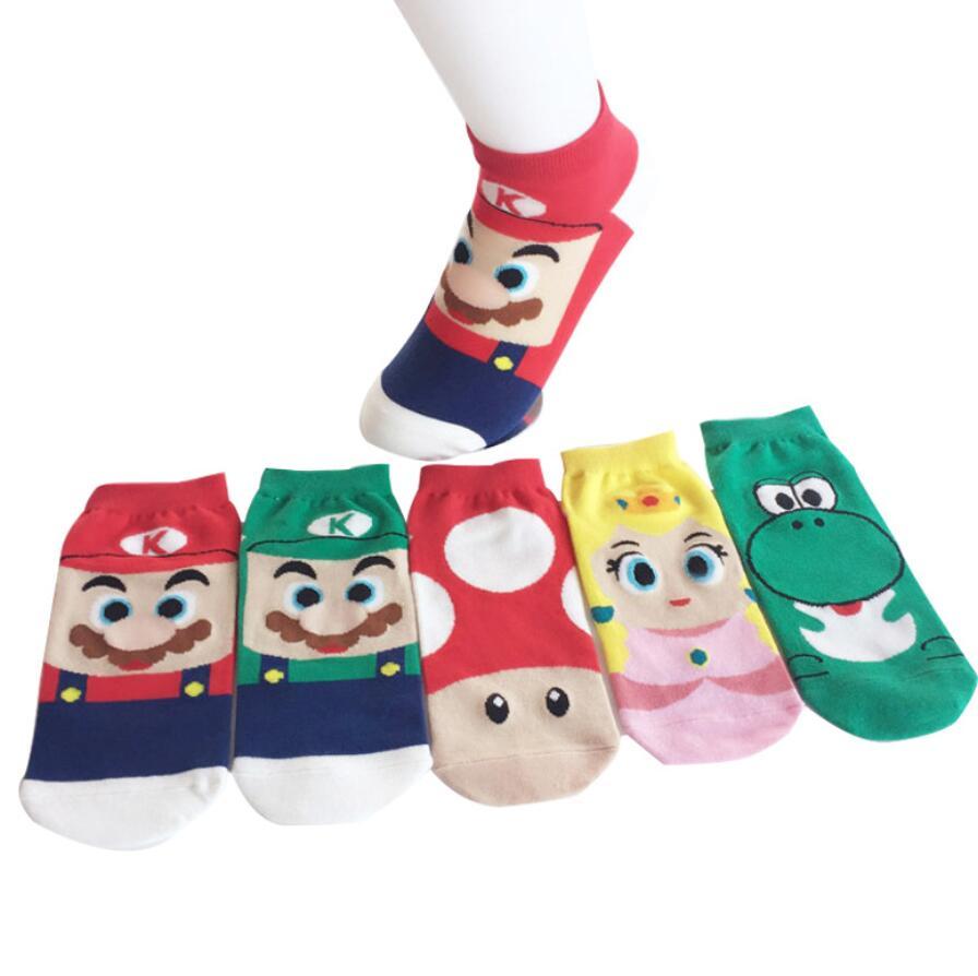 1 par de calcetines Mario Luigi dibujo de Totoro calcetines de barco Superman capitán Arrowman Bruce Lee patrón de personaje Primavera Verano Calcetines