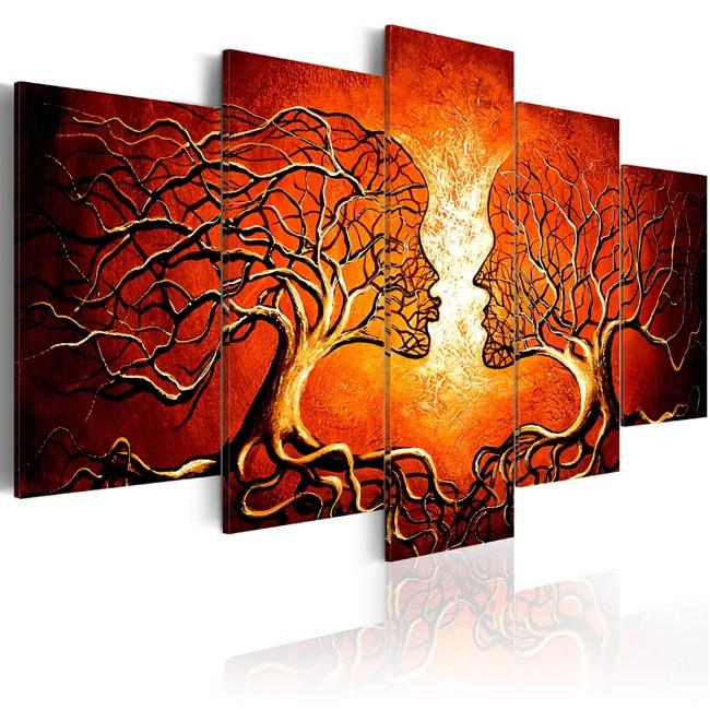 5 paneles de ramas de árbol de color rojo, pintura de lienzo, arte abstracto, imagen de lienzo, impresión de imágenes de pared para sala de estar moderna