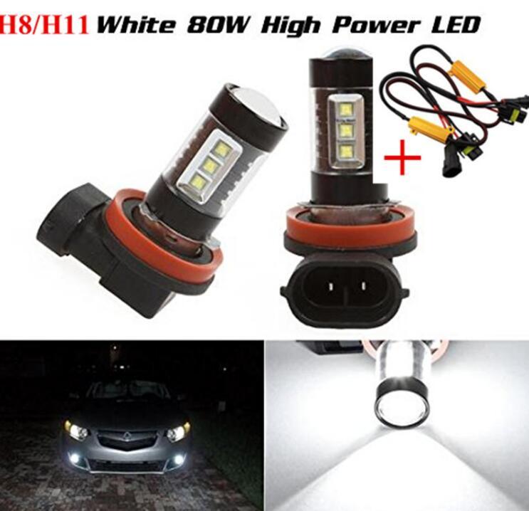 2xh11 h8 LIBRE DE ERRORES 80W blanco 6000K Chips LED Cree luz Led antiniebla lámpara de conducción + Resistencia de carga cableado de derivación para BMW E90 2005-2012