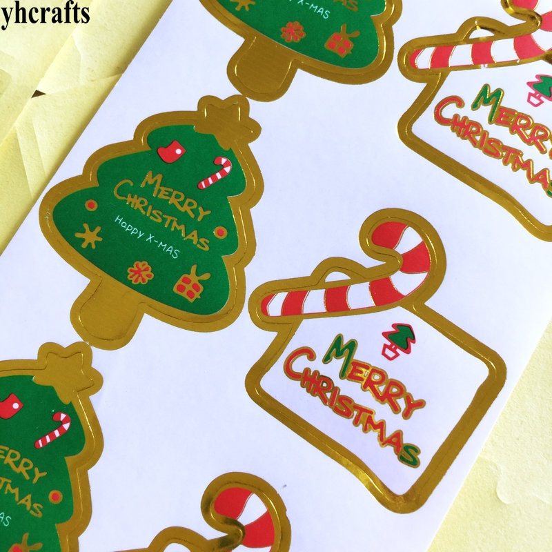 8PCS/LOT.Merry Christmas tree gift box paper stickers Xmas bake sealing label Kids diy toys Kinderga