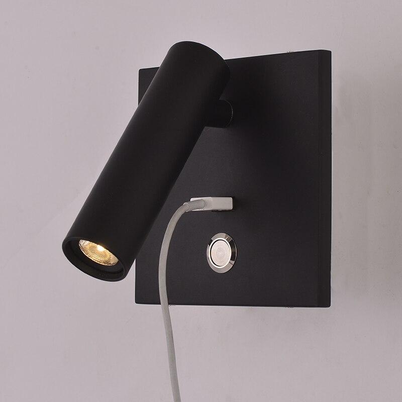 ZEROUNO وحدة إضاءة LED جداريّة ضوء مع التبديل نوم إضاءة داخلية السرير الجدار مصباح USB ليلة LED القراءة 3 واط وحدة إضاءة LED جداريّة الشمعدان لوميناريا