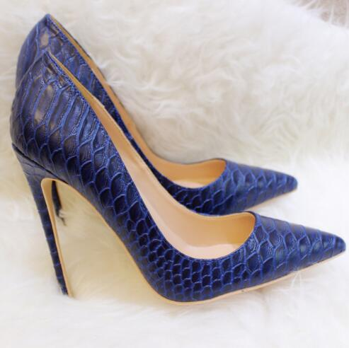 Moda 2019, envío gratis, zapatos de tacón alto de aguja puntiagudos de piel de serpiente marina para mujer, zapatos de boda de tacón alto