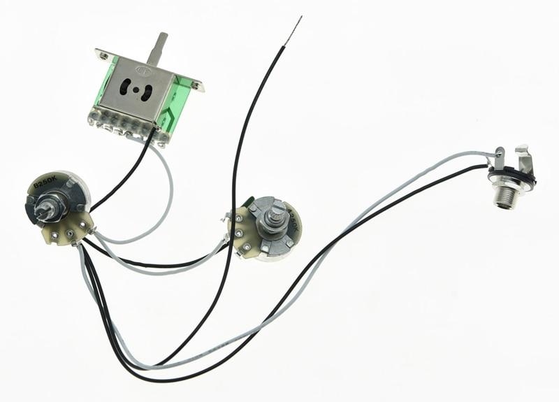 Arnés de cableado de guitarra precableado 1V1T grande Alpha 250K Pots interruptor de recogida de 5 vías