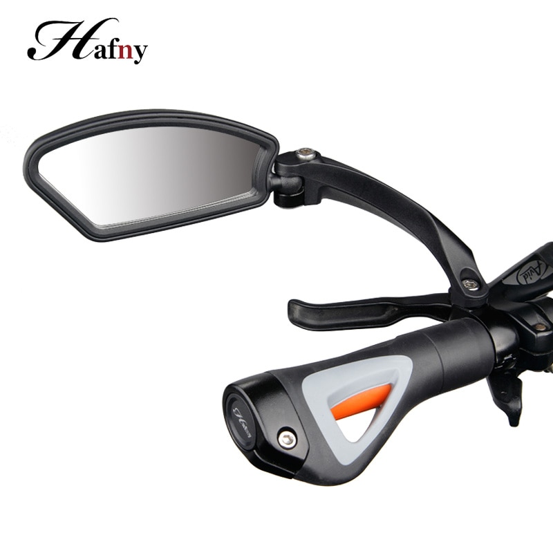 1 pair cycling bicycle rear view mirror flexible handlebar end mirror aluminum alloy lens safety side bike rearview accessories Hafny Bicycle Handlebar Side Safety Rearview Mirror Cycling Stainless Steel Len Blind Spot Mirrors MTB Flexible Rear View Mirror