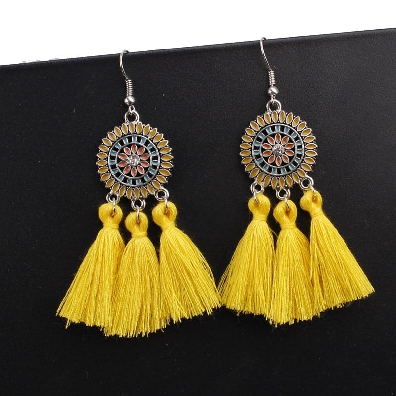 AliExpress - Exknl Large Long Yellow Tassel Earrings Women Statement Flower Fringe Earrings Boho Ethnic Party Drop Dangle Earrings Jewelry