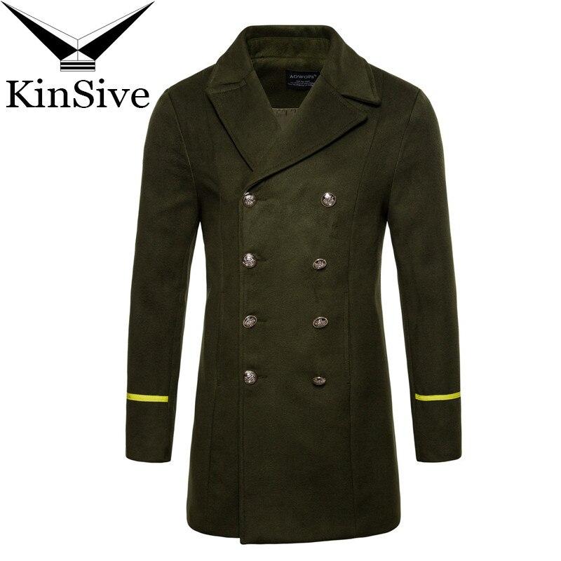 2018 nuevo Otoño Invierno gabardina ropa de marca para hombres Cool Mens Long Wool Abrigo de doble botonadura de alta calidad de algodón sobretodo Masculino