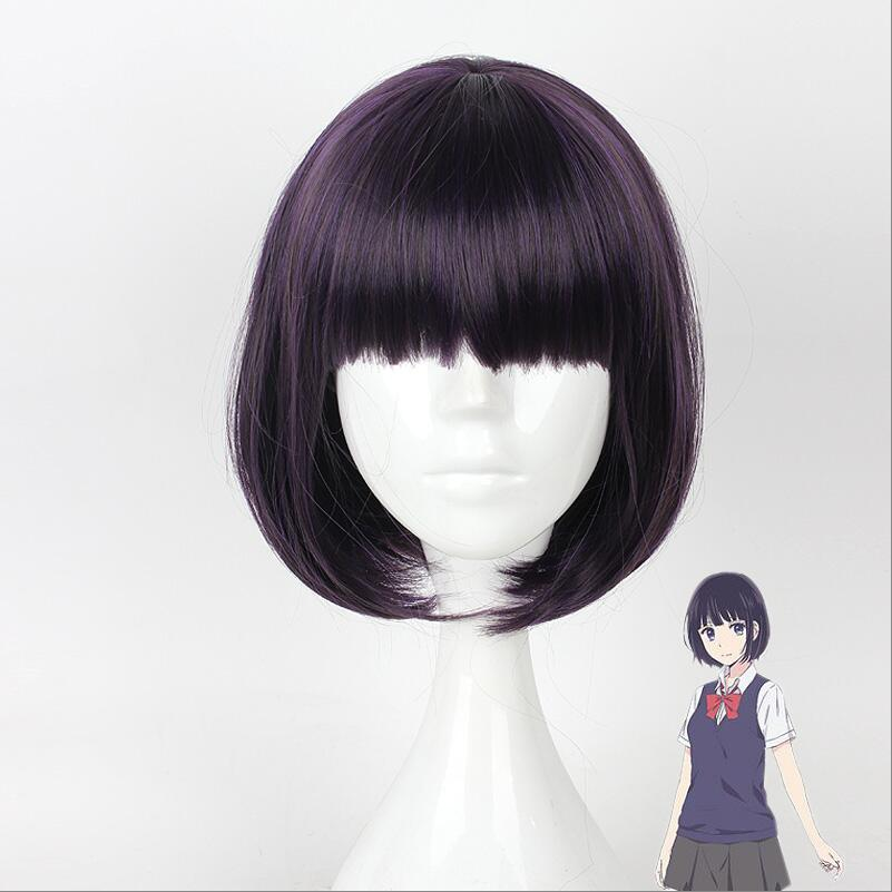 Scum's Wish Kuzu no Honkai Cosplay Wig Yasuraoka Hanabi Short Straight Purple Facial Hair
