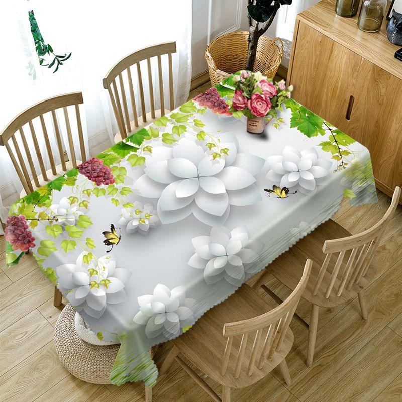 Manteles blancos de poliéster impermeable 3D mantel rectangular para mesa de banquetes cubiertas de mesa redonda tamaño personalizado funda de cojín