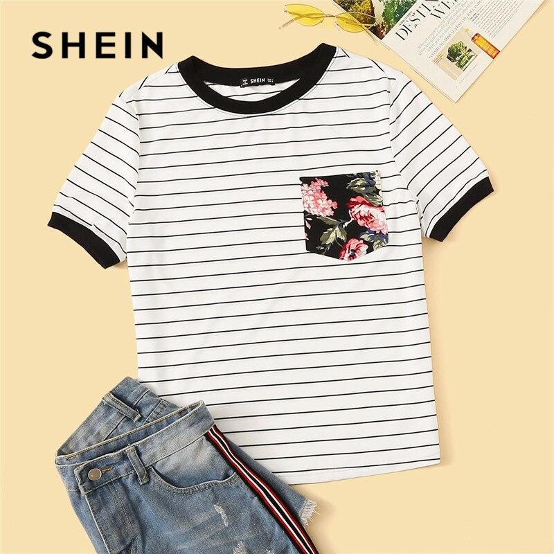 SHEIN Preppy Floral bolsillo parcheado rayas Ringer camiseta mujer ropa 2019 cuello redondo Casual elástico verano camisa señoras camisetas