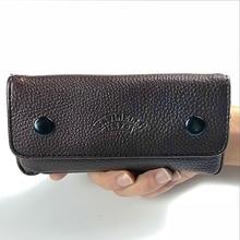 Étui en cuir Pro pochette marron élégant   Étui pour tuyau de fumée souple, pochette de tabac, outil de travail Portable