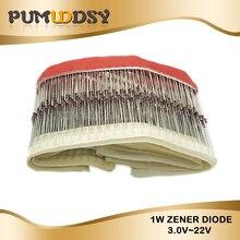 100 pièces 1W Zener diode DO-41 3V 3V3 3V6 3V9 4V3 4V7 5V1 5V6 6V2 6V8 7V5 8V2 9V1 10V 11V 12V 13V 15V 16V 18V 20V 22V 1N4733 1N4728