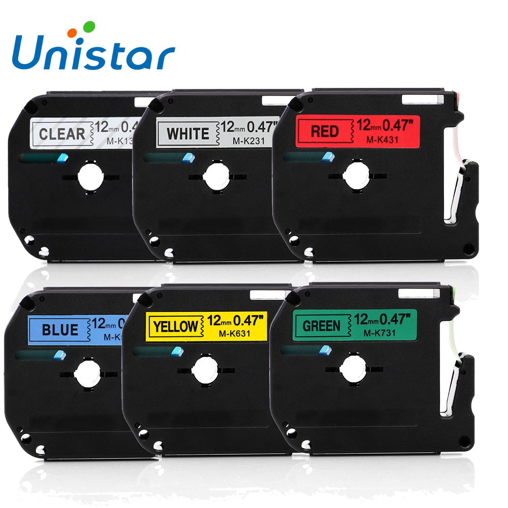 6psc hermano Compatible M cintas 12mm MK-131 MK-231 MK-431 MK-531 MK-631 MK-731 Combo Set para Brother P-touch cintas de etiqueta 12mm