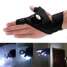 Gant de LED extérieur sans doigts avec lampe de poche torche couverture outil de survie de sauvetage Camping travail réparation gant de pêche de nuit