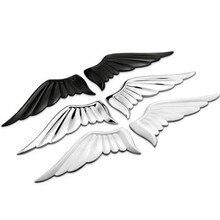 Pair 3D Zinc Alloy Metal Silver Guardian Angel Wings Car Emblem Badge Logo Sticker Auto Truck Decal Car styling Metal Sticker
