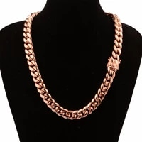 hot sale chic miami cuban chains for men hip hop jewelry rose gold color thick stainless steel wide big chunky necklace gift