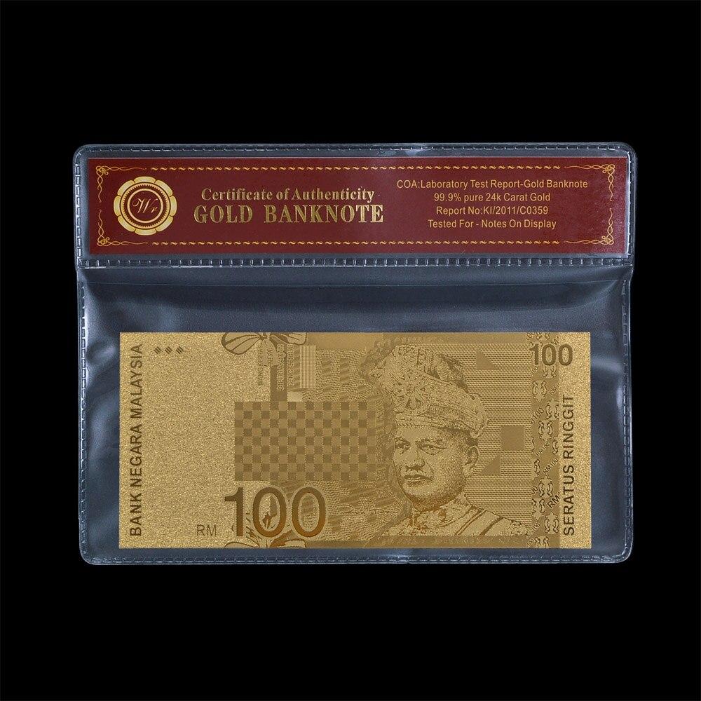Золотая Малайзия 100 Ringgit Примечание сертификат подлинности COA банкнота фольга банка чистоты