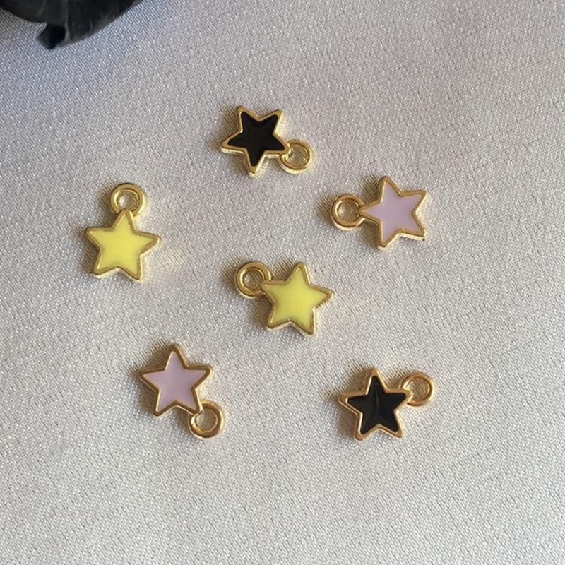 Promoción ~ 6*9MM 150 unids/pack estrella de colores colgantes de acristalamiento colgantes de aleación de oro KC colgantes de joyería