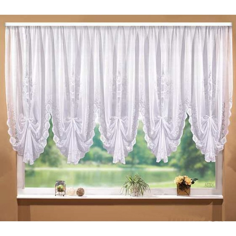 ستائر دانتيل بيضاء ذات ثنيات ، ستائر قصيرة تول لنافذة المطبخ ، خياطة لغرفة المعيشة وغرفة النوم
