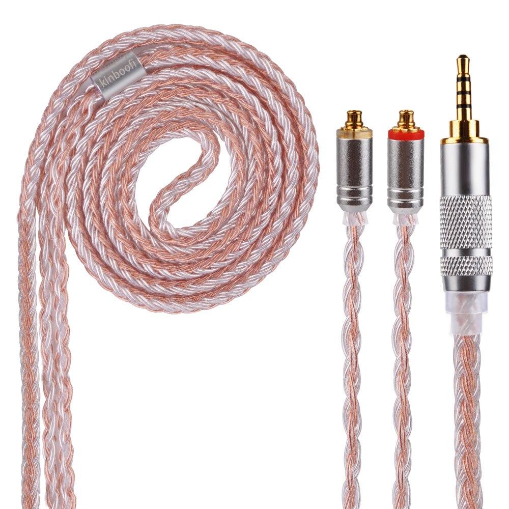 Kinboofi 16 núcleo prata cobre cabo 2.5/3.5/4.4mm equilibrado cabo com mmcx/2pin conector para kz zs10 as10 zs6 zst c10 v90