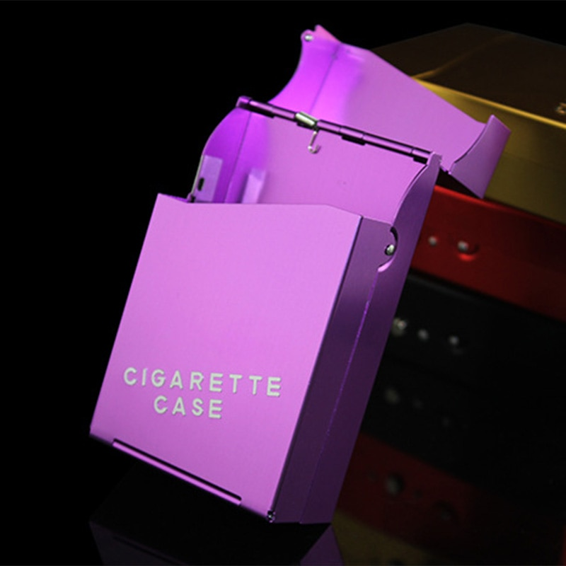 Pipas de moda Creative Cigaret fumar caja de cigarrillos de Metal para hombres caja de cigarrillos estándar de aluminio caja de regalo de humo 94*60*28mm