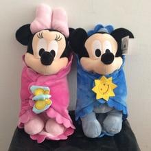 Mignon bébé Mickey et Minnie souris avec couverture en peluche jouets Mickey Mouse bébé doux enfants poupée pour enfants cadeaux