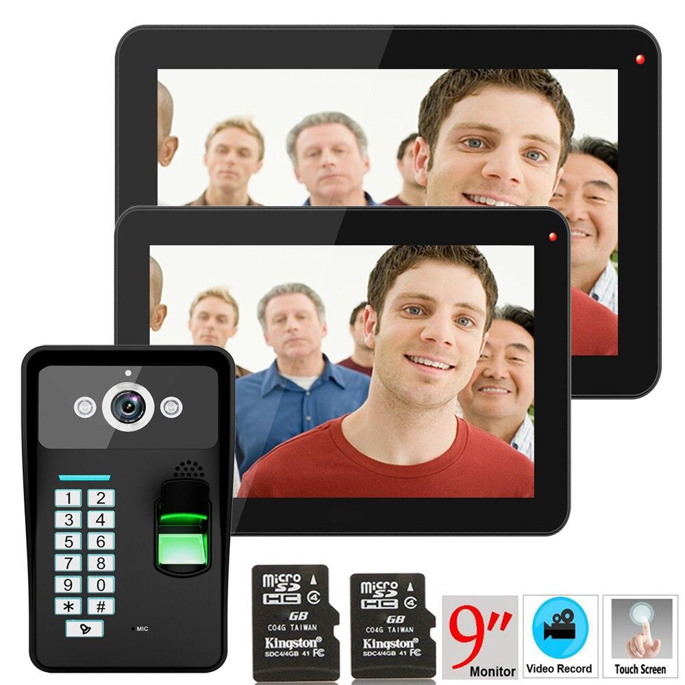 """9 """"2 monitores de grabación RFID Reconocimiento de huellas dactilares 900TVL Video puerta teléfono intercomunicador impermeable visión nocturna 8G tarjeta TF"""