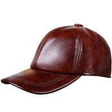 Casquettes de Baseball en cuir véritable   En cuir de vache véritable, casquette de Baseball, chapeau de loisirs, réglable,